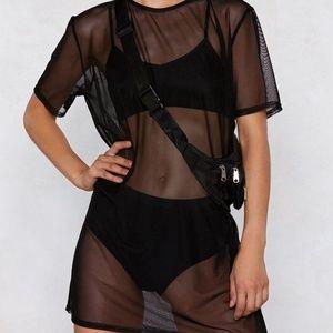 Nasty Gal Black Mesh T Shirt Dress